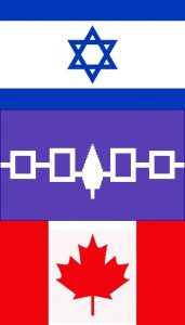 Israeli, 6 Nations and Canadian Flags