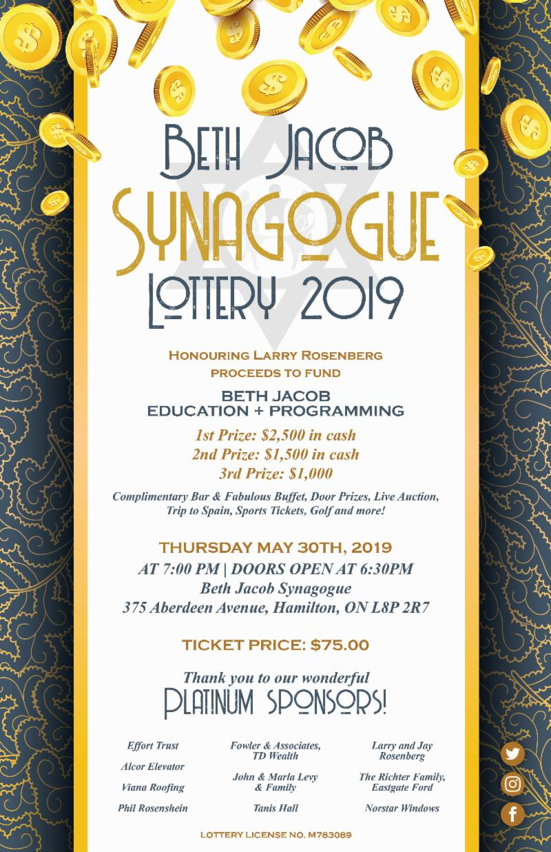 Beth Jacob Synagogue Lottery 2019